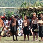 Commodore Peter Scott and Petty Officer Oliver Kaese are inducted into the Tolai tribe