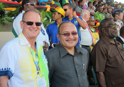 Materua Tamarua, Chief Executive Officer, 2014 PNG Games and Phil Franklin MBE, Chairman, Host Organising Committee 2014 PNG Games