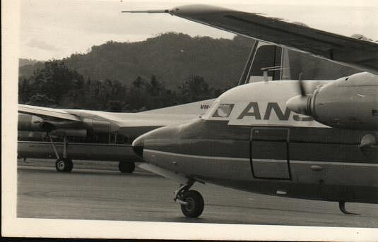 F27 taxiing past TAA F27 close Madang